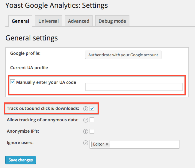 Google Analytics by Yoast管理画面