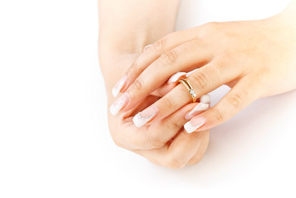 French manicure and ring